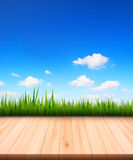 Blue sky with meadow and wooden floor Royalty Free Stock Photography