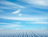 Blue sky and metallic floor Royalty Free Stock Images