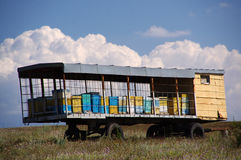 Blue sky and a mobile apiary. Mobile apiary on a background of blue sky and white clouds Royalty Free Stock Images