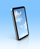 Blue sky in a mobile phone Stock Photography