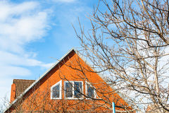 Blue sky and modern country house in spring Royalty Free Stock Image