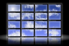 Blue sky on monitors Royalty Free Stock Photo