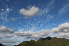 Blue sky and mountains. Blue sky and clouds over mountains in Oahu, Hawaii Royalty Free Stock Photo