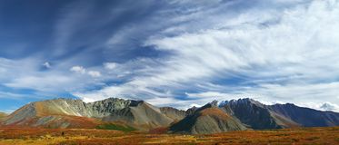 Blue sky and mountains, panorama. Royalty Free Stock Image