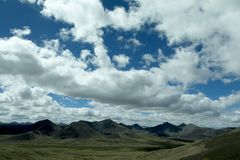 Blue Sky and Moutains in Tibet Royalty Free Stock Photo