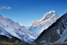 Blue sky at Mt. Cook in New Zealand Royalty Free Stock Photo