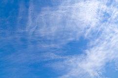 Blue Sky. Nature, blue sky and clouds, yellow grass. View from below Stock Images