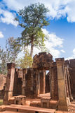 Blue sky near the entrance to ancient Preah Khan temple in Angkor. Siem Reap, Cambodia. Royalty Free Stock Photos