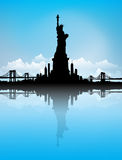 Blue Sky New York City skyline Statue of liberty Vector Royalty Free Stock Photos