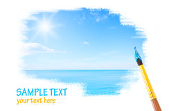 Blue sky and ocean. Drawing with copyspace Royalty Free Stock Photography