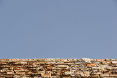 Blue Sky and Old Wall Background Royalty Free Stock Photography