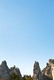 Blue sky over Ai-Petri rocks in Crimean mountains Stock Photos