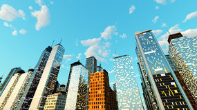 Blue Sky over the Big city. Generic urban architecture and skyscrapers forming a huge city. 3D rendered Illustration Stock Photos