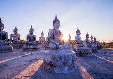 Blue sky over buddha statues Stock Images