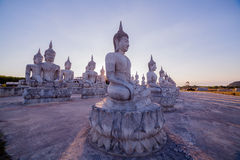 Blue sky over buddha statues Royalty Free Stock Photography