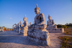 Blue sky over buddha statues Royalty Free Stock Photo