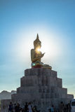 Blue sky over buddha statues Stock Photo
