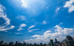 Blue sky over the city. Day light  town Royalty Free Stock Photo