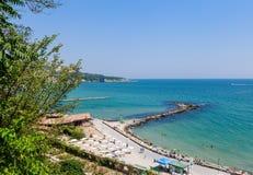 Blue sky, over clear sea water, beach, Black Sea shore. Balchik Stock Photos