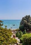Blue sky, over clear sea water, beach, Black Sea shore. Balchik Royalty Free Stock Image