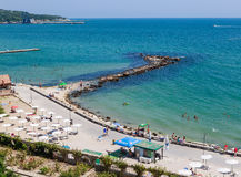 Blue sky, over clear sea water, beach, Black Sea shore. Balchik Royalty Free Stock Images