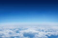 Blue sky over clouds at high altitude Royalty Free Stock Photography
