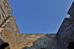 Blue sky over Great Wall beacon tower Royalty Free Stock Images