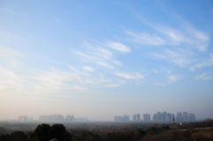 Blue sky over Hefei China. The city of Hefei China as seen from the wild animal park Stock Photography