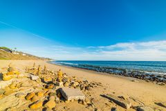 Blue sky over Malibu shoreline. Los Angeles, California Stock Photo