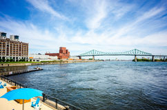 Blue sky over Montreal old port beach Royalty Free Stock Photo