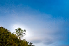 Blue sky over the mountain. In evening time Royalty Free Stock Images