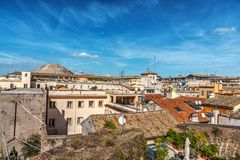 Blue sky over old roofs in Rome Royalty Free Stock Photo