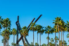 Blue sky over palm trees in Venice Beach. Los Angeles. California, USA stock images