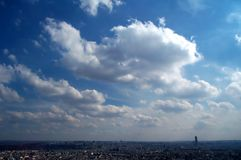 Blue sky over Paris. Perspective over Paris on a sunny day. Taken from top of Montmartre royalty free stock images