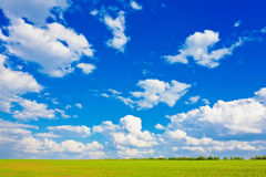 Blue sky over the plain Royalty Free Stock Photos