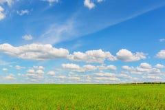 Blue sky over the plain Stock Photo