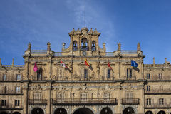 Blue sky over Plaza Mayor in Salamanca Stock Photography
