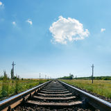 Blue sky over railroad Royalty Free Stock Image