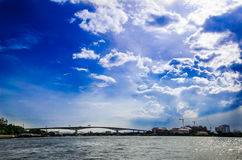 Blue sky over the river.jpg. Landscape blue sky and river with a bridge Royalty Free Stock Photo