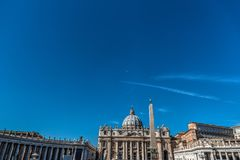 Blue sky over Saint Peter`s square Royalty Free Stock Images