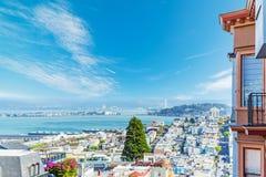 Blue sky over San Francisco bay Stock Photos