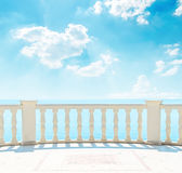 Blue sky over sea and balcony Stock Images