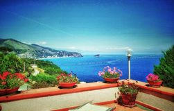 Blue sky over the blue sea. The blue mediterranean sea from a terrace stock image