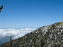 Blue sky over snowy San Gabriel Mountains Royalty Free Stock Photography