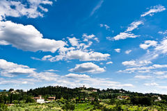 Blue sky over Tuscany countryside Royalty Free Stock Image