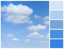 Blue sky with palette color swatches Stock Images