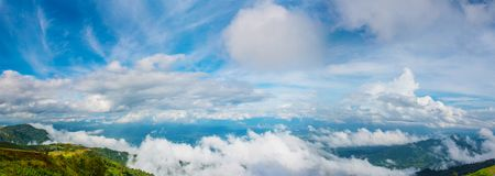 Blue sky panorama and beautiful clouds shape. Image for background and wallpaper. stock image