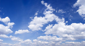 Blue sky panoramic photo. Beautiful sky, would make a great background, space for message Stock Photography