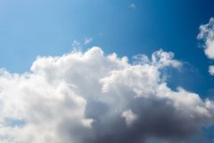 Blue  Sky with some white clouds. Blue Sky is partly filled with white clouds Royalty Free Stock Photography
