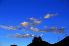 Blue sky with peacefull cotton clouds in Qinghai Tibet Plateau Royalty Free Stock Photos
